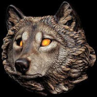 Glowing Eyes Wolf Statuette
