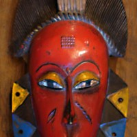 Red Comb Kpelie Mask