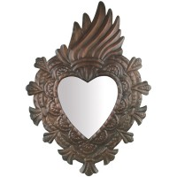 Aged Fire Heart Mirror