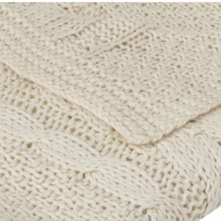 Ivory Cable Knit Throw Detail