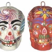 Painted Pottery Skull Ornaments
