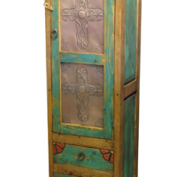 Painted Wood Hammered Tin Cabinet