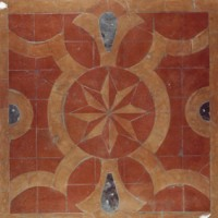 Red Compass Marble Mosaic