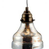 Antiqued Silver Glass Pendant Light