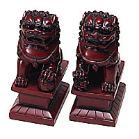 Rosewood Shishi Foo Dog Statuary