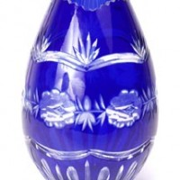 Cobalt Blue Cut Crystal Egg Vase