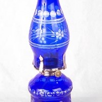 Cobalt Blue Hurricane Oil Lamp