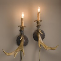 Pair Antler Sconces
