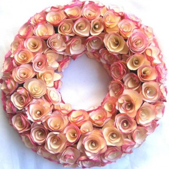 Pink Wood Shavings Wreath