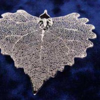 Silver Cottonwood Leaf Pendant