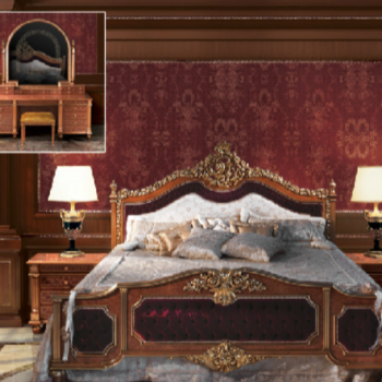 Burgundy Velvet Fratelli Bedroom Set