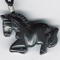 Carved Stone Horse Necklace