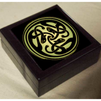 Celtic Cats Black Lacquer Box