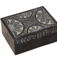 Circle Design Black Stone Box