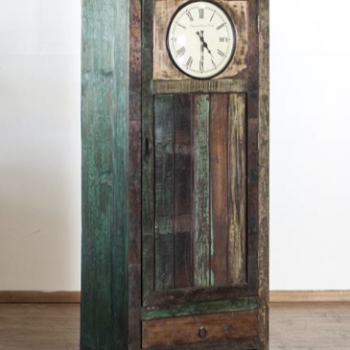 Clock Front Single Door Cabinet