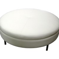 Cream Leather Ottoman Table