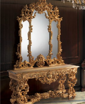 Gold Acanthus Table and Fratelli Mirror