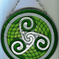 Green Celtic Stained Glass
