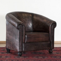 Rounded Leather Accent Chair