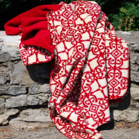 Warm Red Fleece Throw