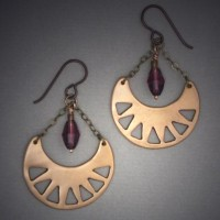 Bronze Earrings with Amethyst Droplet