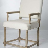 Cream Leather Dining Chair, natural wood