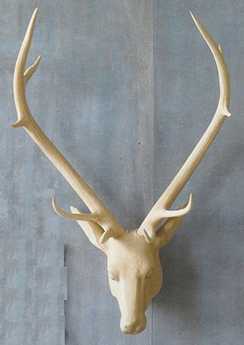 Hand-Carved Wooden Stag Head