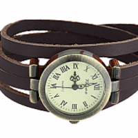 Leather Wrap Watch, black