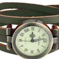 Leather Wrap Watch, green