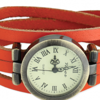 Leather Wrap Watch, orange