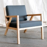 Mod Oak Armchair, grey