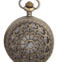 Rosette Cutout Pocket Watch Necklace Pendant