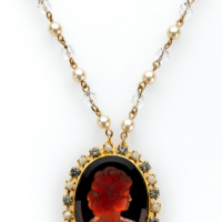 Ruby Red Intaglio Necklace