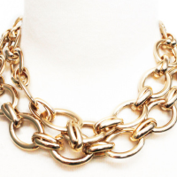 2 Tiered Gold LInk Necklace