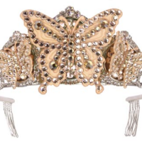 Butterfly Tiara, tan