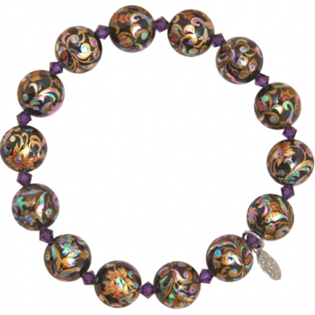 Calico Bead Stretch Bracelet