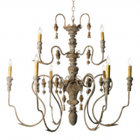 Carved Wooden French Chandelier