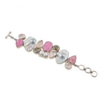 Chunky Pearl & Pink Drusy Bracelet