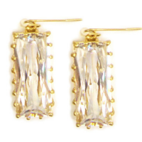 Gold & Crystal Post Earrings
