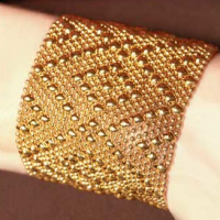 Gold Diamond Mesh Cuff, large