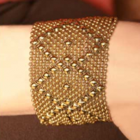 Gold Diamond Mesh Cuff, medium
