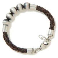 Men's Silver Bead Leather Bracelet