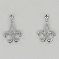 Silver Fleur de Lys Post Earrings