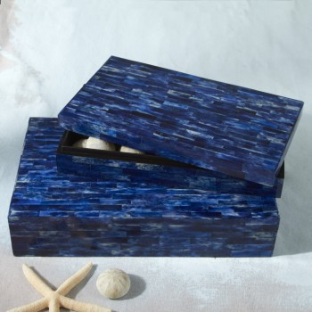 Blue Bone & Wood Inlay Boxes