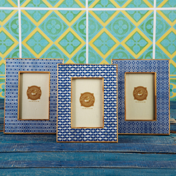 Blue Print Bamboo Picture Frames