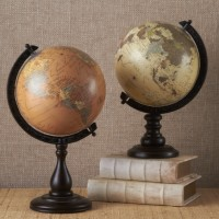 Colorful Globes on Carved Wood Stand