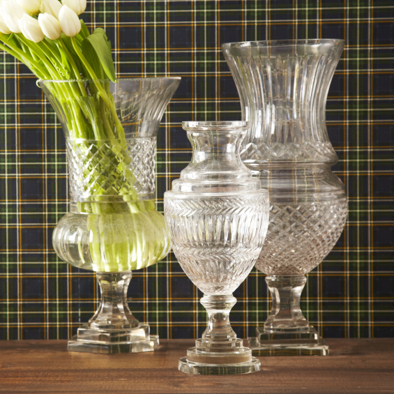 Etched Hurricane Glass Vases