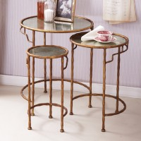 Gold Round Bamboo Nesting Tables