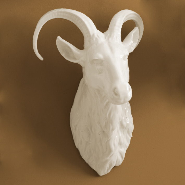 Large Porcelain Ram Head Wall Trophy