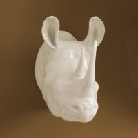 Porcelain Rhinoceros Wall Trophy